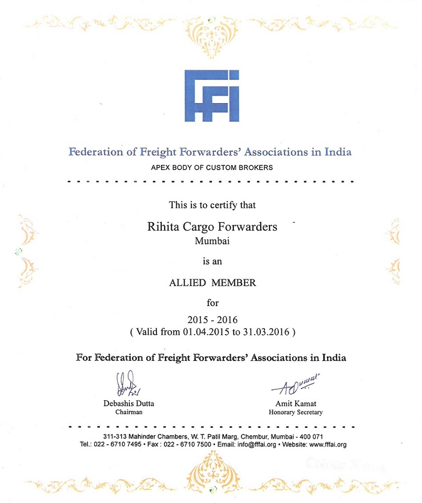FEDERATION OF FRIGHT FORWARDERS ASSOCIATIONS IN INDIA