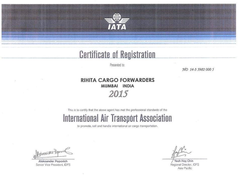 IATA CERTIFICATE OF REGISTRATION
