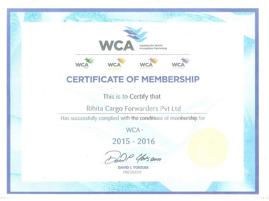 WCA CERTIFICATE OF MEMBERSHIP 2015-2016