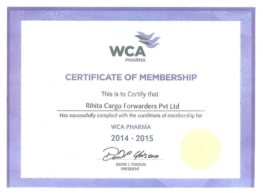 WCA PHARMA CERTIFICATE OF MEMBERSHIP